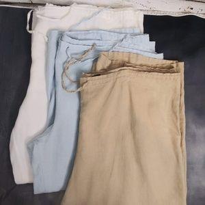 Mossimo / 3 100% Linen Capri/Pants/ Size XL